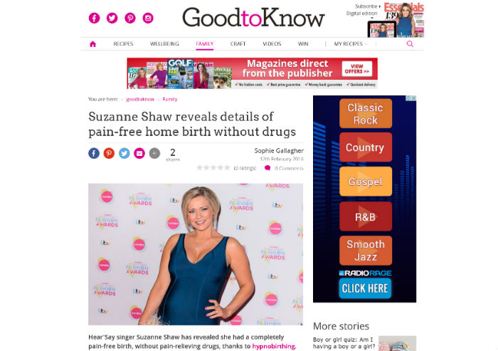 Suzanne Shaw Hypnobirthing Enjoys Hypnobirthing Press in Good to Know